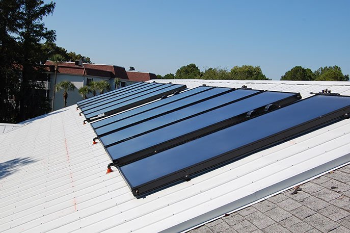 Solar Hot Water Panels Installed on a Commercial Property