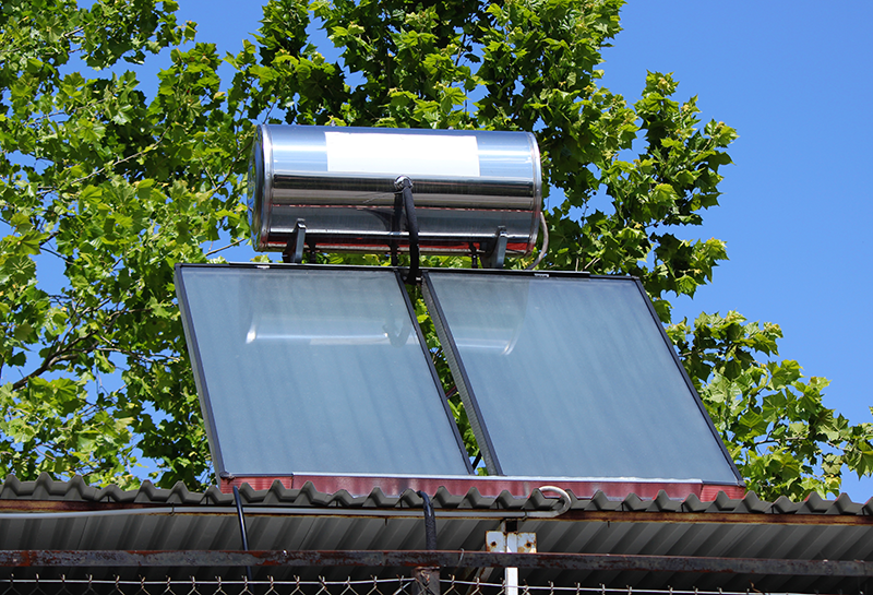 Thermosiphon Solar Collector on Metal Roof
